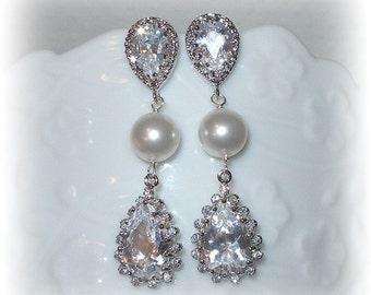 Teardrop and Pearl Bridal Earrings