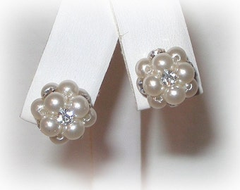 Pearl Cluster Studs with Crystals