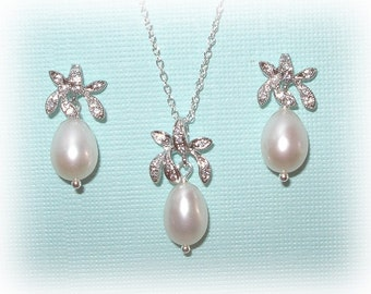 Flower Pearl Bridal Set Jewelry Earrings Necklace Freshwater Pearls Orchid Floral Sterling Silver Wedding Bridal Brides Jewelry