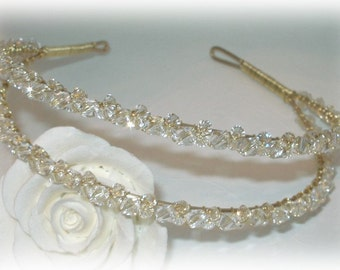Crystal Double Band Tiara in Gold