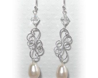 Silver Filigree Pearl Earrings, Pearl Drop Earrings, Formal Earrings, Wedding Jewelry, Bridal Accessories, Bridesmaids Earrings
