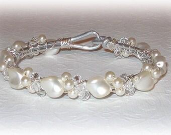 Wave Pearl Bangle Bracelet
