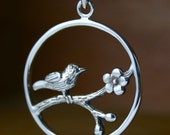 """Sterling silver bird on a branch necklace 16"""" chain"""