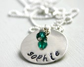 Name necklace with birthstone bead - Personalized necklace - hand stamped jewelry