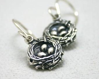Sterling silver birds nest dangle earrings