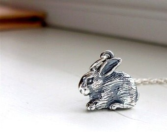 Bunny rabbit necklace. Sterling silver bunny rabbit charm necklace, bunny necklace, rabbit jewelry, gift for her, Easter Bunny, Gift for Her