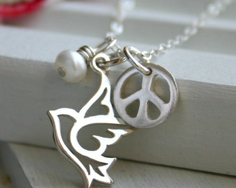 Peace sign dove necklace with pearl bead - charm cluster - sterling silver jewelry