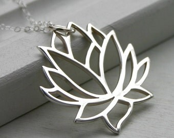 Large Lotus necklace - sterling silver yoga jewelry