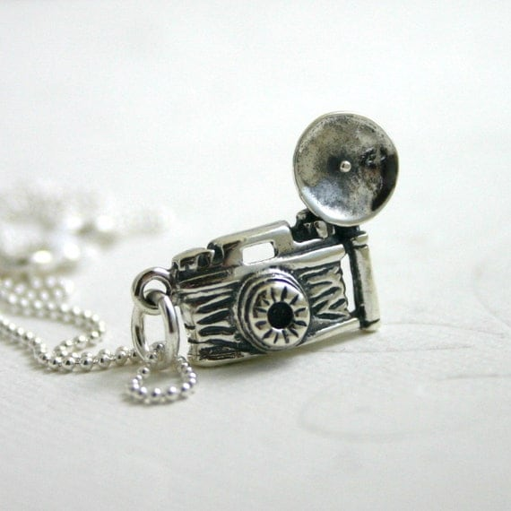 Camera necklace - sterling silver charm necklace on ball chain