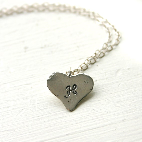 Sterling silver heart initial necklace - Hand stamped personalized necklace