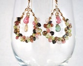 Watermelon Tourmaline, beer quartz, and morganite semi-precious gemstone wrapped gold filled dangle earrings
