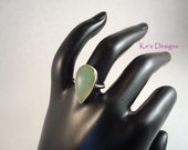 Siberian jade pear cabachon ring set in argentium sterling silver .930, size 6.5