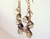 bi-color lemon smoky quartz gold dangle earrings - Made to order