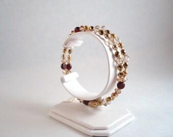 2 strand garnet, crystal and Czech glass bracelet size 7.5