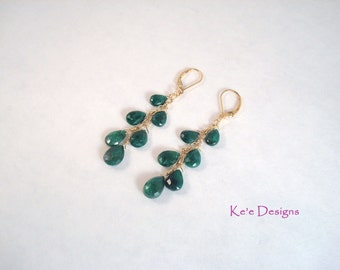 genuine emerald and gold cascade dangle earrings - opera length, May birth stone - Made to order