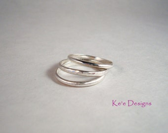 Argentium sterling silver .930 12 gauge stacker band rings - 3 bands made to order, stacking rings