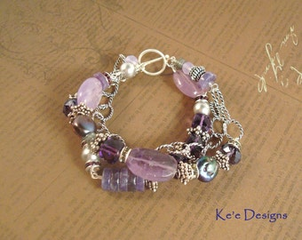 amethyst, ametrine, gray crystal pearls and silver 3 strand bracelet - made to order - February birthstone