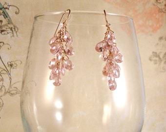 "cz pink pear briolette and gold-filled, rose gold filled or argentium sterling silver earrings - ""Pink Bubbly"" - made to order"