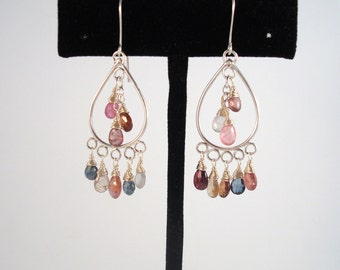 multi color sapphire light-weight hand made silver chandelier earrings
