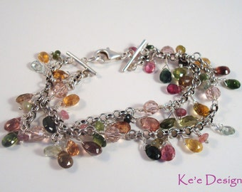 watermelon tourmaline gemstone & silver 2 strand bracelet - made to order in silver, gold-filled or rose gold-filled