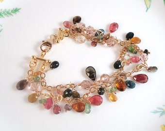 watermelon tourmaline gold 2 strand bracelet - Made to order in silver, gold-filled or rose gold-filled
