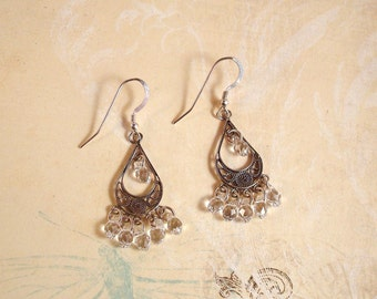 clear crystal and antiqued sterling silver chandelier earrings