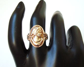 sterling silver 925 antiqued  woman's profile ring - silver cameo ring - made to order