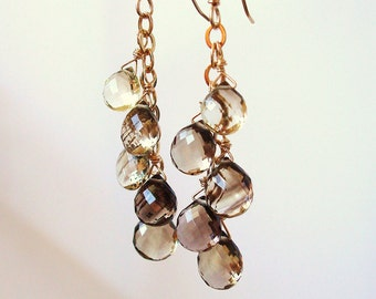 bi-color lemon smoky quartz gold dangle earrings - Made to order