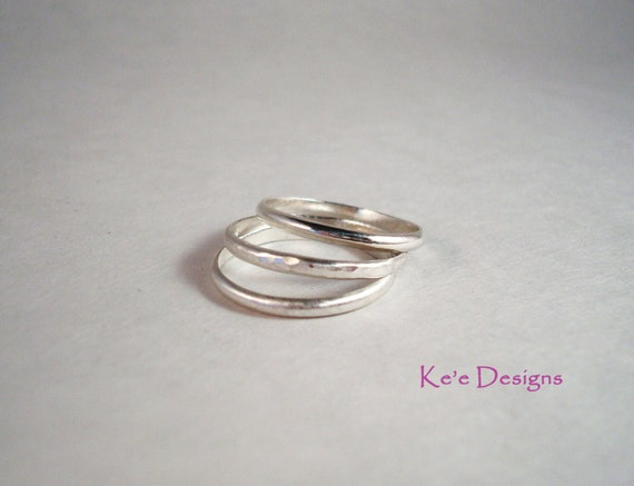 Argentium sterling silver .930 12 gauge stacker band ring - 1 band made to order, stacking ring