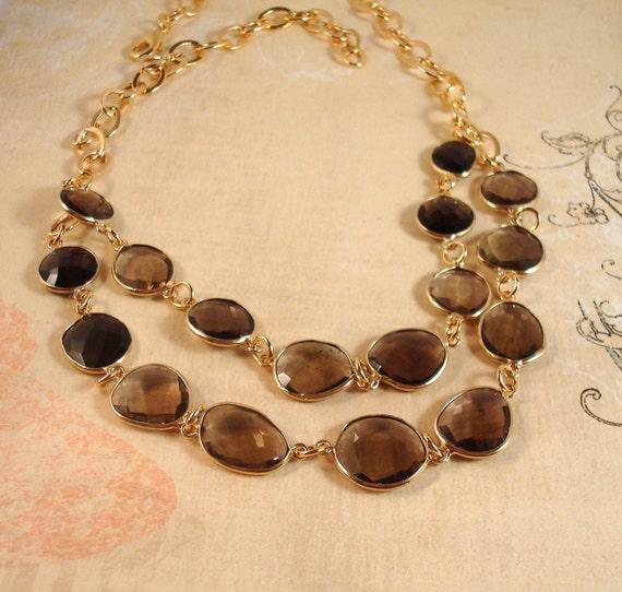 smoky quartz and gold framed station necklace