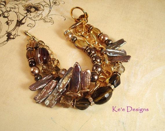 beer quartz and bronze stick pearl 3 strand gold bracelet, size 7.5