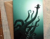 Giant Octopus - Illustrated Greeting Card - Birthday Card