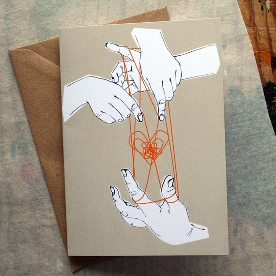 Cat's Cradle Greeting Card - Valentines Card - Anniversary Card - Birthday Card - Illustrated Card - Love Card