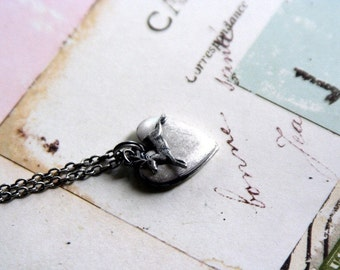 tiny deer. heart locket necklace. silver ox