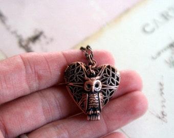 owl. heart locket necklace. copper ox