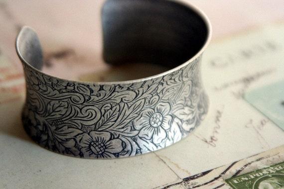 floral cuff bracelet. silver ox