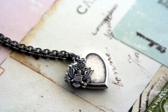army. heart locket necklace. silver ox