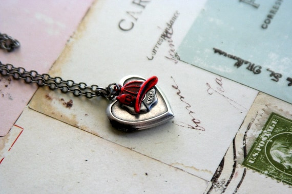 the firefighter. heart locket necklace. red and silver ox