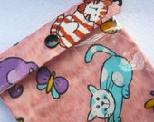 See Through Pouch Lovely Cat on Pink  5 x 7 clear bag Pencil case First aid Gadget Cosmetics - Gift under 15