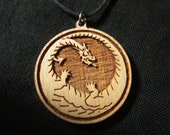DRAGON NECKLACE Laser Cut Wood Pendant on and Adjustable Waxed Linen cord