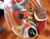 OCEAN REEF Amazing Detailed Lampwork Glass Signed Art with Coral with beams of Opal Underwater Focal Pendant Borosilicate Pyrex Bead
