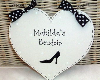 Personalised Bedroom French Chic BOUDOIR Sign ~ Stilletto Shoe & Polka Dots ~ Black, Gold, Hot PInk