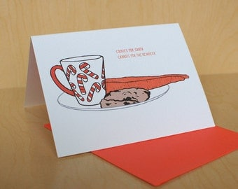Christmas Card Set of 8, Cookies & Carrots/Hot Santa -- Christmas Cards from The Nic Studio