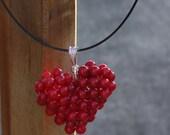 Beaded HeartPendant, Charm Full of Red