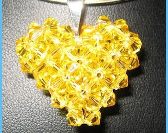 Valentines Day Sale Etsy Citrine Swavorski  Crystal Heart Pendant on Silver Chain