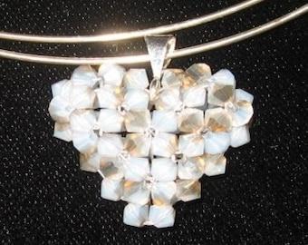 Opal Swavorski Crystal Heart Pendant, Charm
