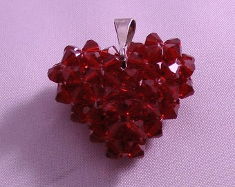 Etsy Red Heart Pendant Charm from Swavorski Crystals