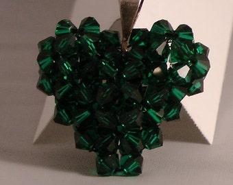 Dark Green Swavorski Crystal Heart Pendant/Puffy Heart