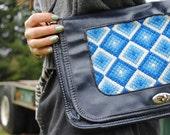 Vintage Genuine Navy Leather and Bohemian Tapestry Shoulder Bag