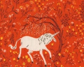 SALE Far Far Away - Unicorns in Coral - .75 yard - Double Gauze Quilt fabric by Heather Ross